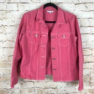 CAbi #133 Pink Button Down Cotton Denim Jacket L